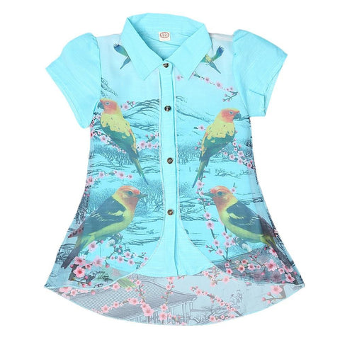 Girls Printed 2 Piece Shirt - Light Blue - test-store-for-chase-value