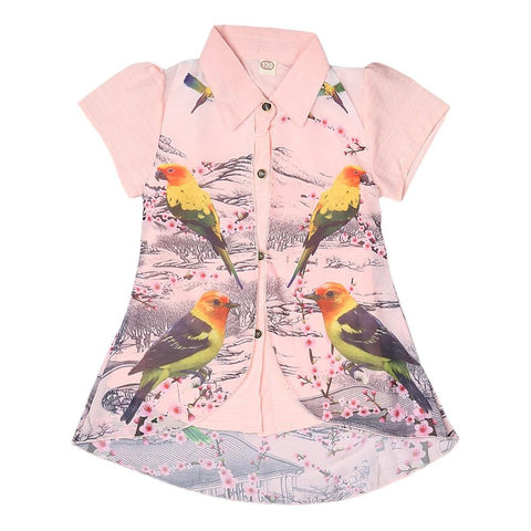 Girls Printed 2 Piece Shirt - Peach - test-store-for-chase-value