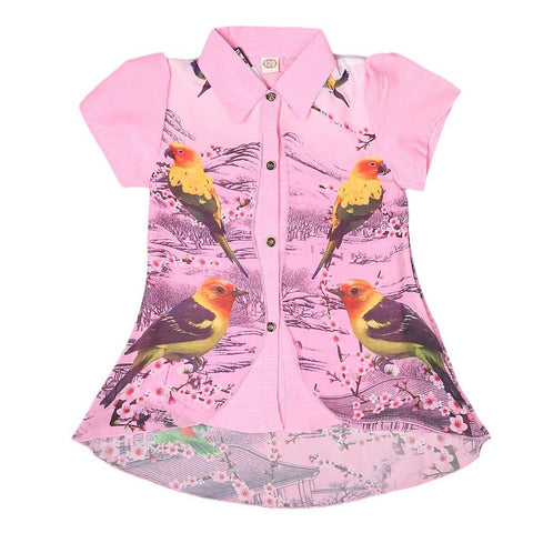 Girls Printed 2 Piece Shirt - Pink - test-store-for-chase-value