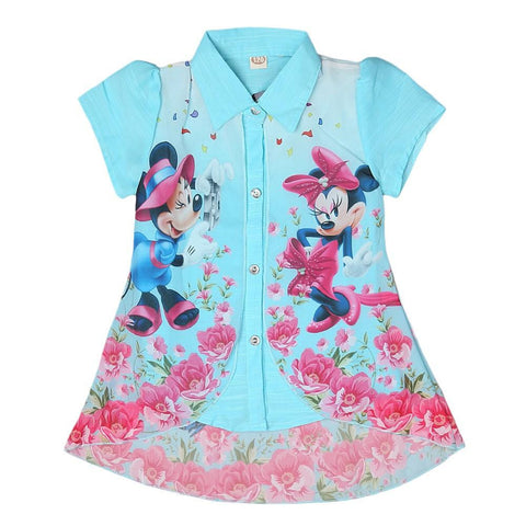 Mickey Mouse Girls Printed 2 Piece Shirt - Blue - test-store-for-chase-value
