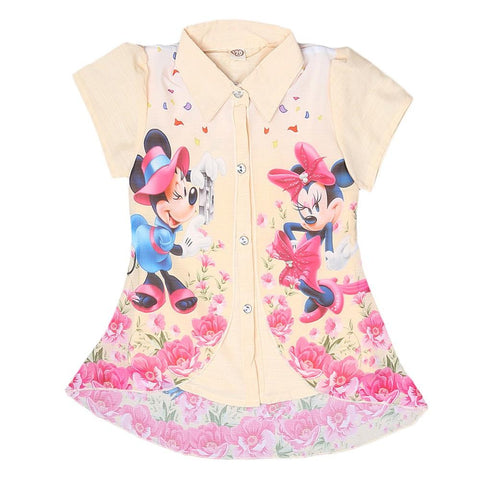 Mickey Mouse Girls Printed 2 Piece Shirt - Cream - test-store-for-chase-value