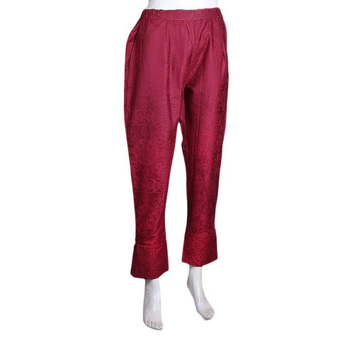 Women's Eminent Jacquard Trouser - Maroon - test-store-for-chase-value