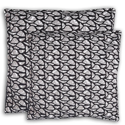 Floor Cushion Covers 2 Pcs Set - Black - test-store-for-chase-value