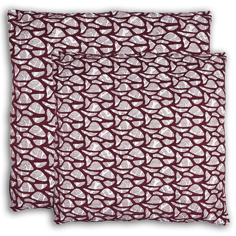 Floor Cushion Covers 2 Pcs Set - Maroon - test-store-for-chase-value