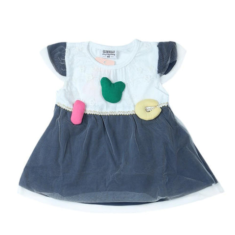 Newborn Girls Frock - Dark Blue - test-store-for-chase-value