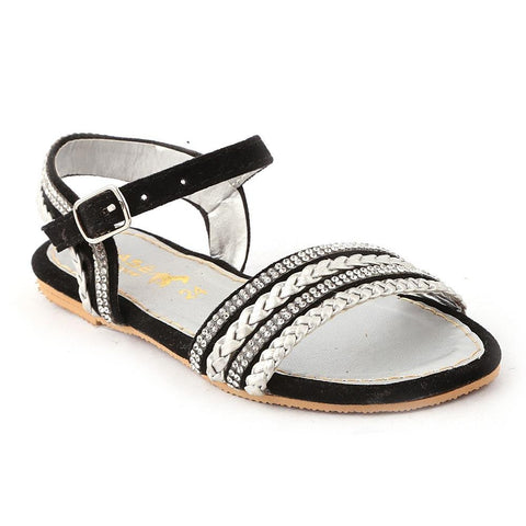Girls Fancy Sandals K-015 (24-29) - Black - test-store-for-chase-value
