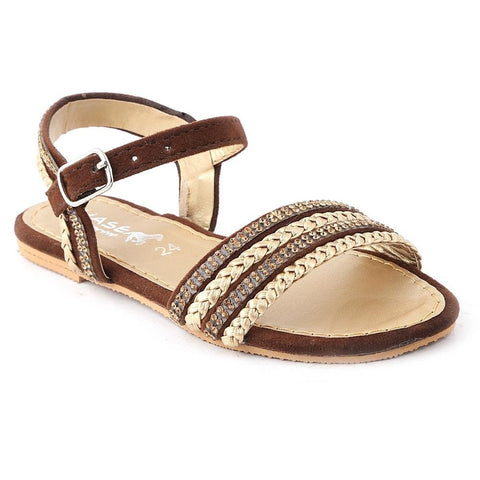 Girls Fancy Sandals K-015 (24-29) - Brown - Coffee - test-store-for-chase-value