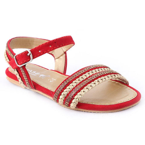 Girls Fancy Sandals K-015 (24-29) - Red - test-store-for-chase-value