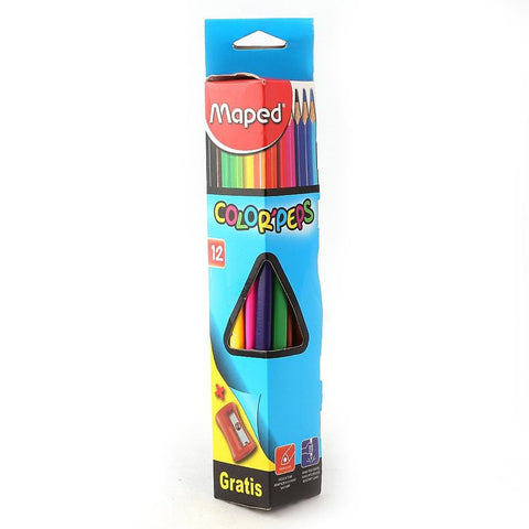 Colored Pencils 12 Pcs Set With Sharpener - Multi - test-store-for-chase-value