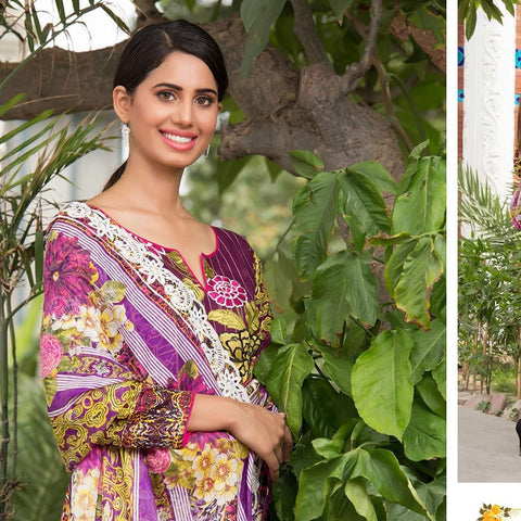 Rana Arts Festive Embroidered Lawn Suit - EKR-162-A - test-store-for-chase-value