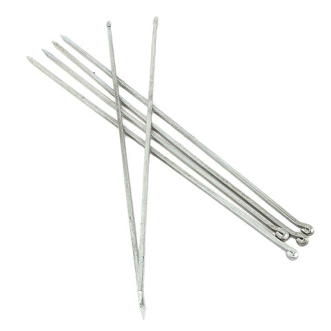 "Square BBQ Skewers (Seekh) 6 Pcs 18"" - Silver - test-store-for-chase-value"