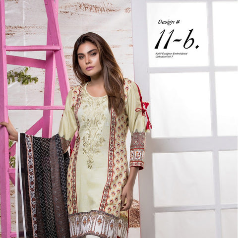 Sahil Embroidered Lawn Suit Vol-7 - 11B - test-store-for-chase-value
