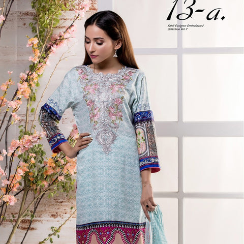 Sahil Embroidered Lawn Suit Vol-7 - 13A - test-store-for-chase-value