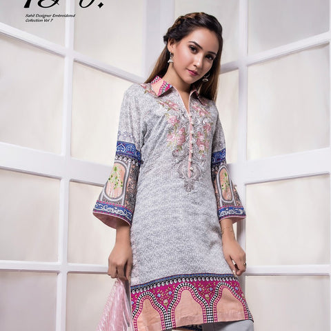 Sahil Embroidered Lawn Suit Vol-7 - 13B - test-store-for-chase-value