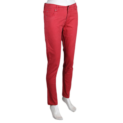 Women's Slim Fit Cotton Pant - Maroon - test-store-for-chase-value