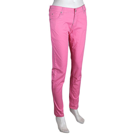 Women's Slim Fit Cotton Pant - Pink - test-store-for-chase-value