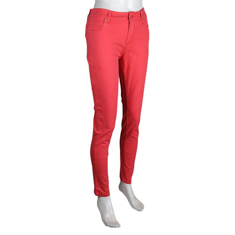 Women's Slim Fit Cotton Pant - Red - test-store-for-chase-value