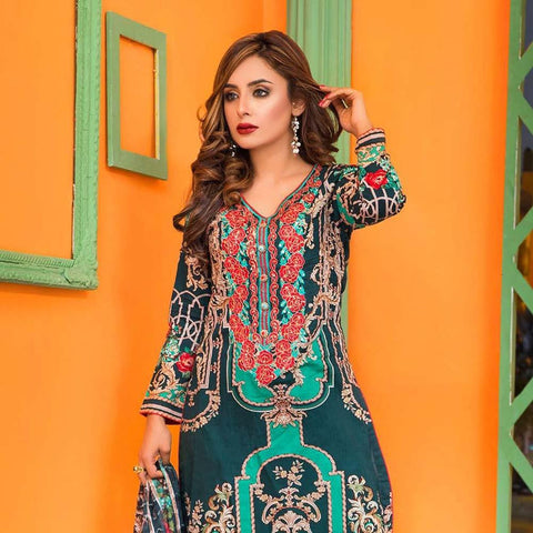 Moonsoon Summer Embroidered Lawn Suit - 2A - test-store-for-chase-value