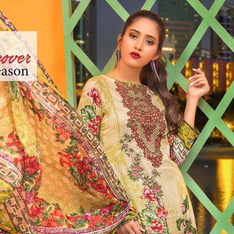 Moonsoon Summer Embroidered Lawn Suit - 5B - test-store-for-chase-value