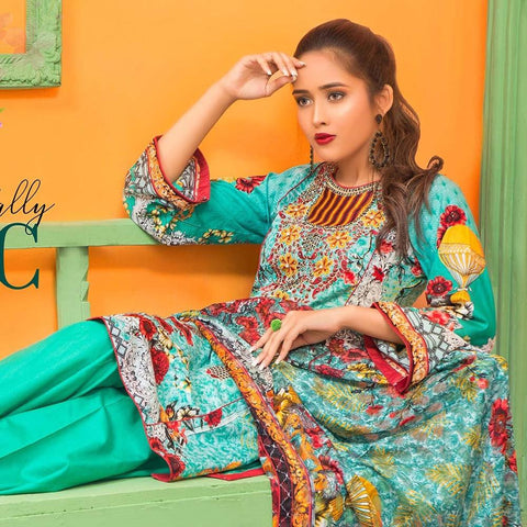 Moonsoon Summer Embroidered Lawn Suit - 6B - test-store-for-chase-value