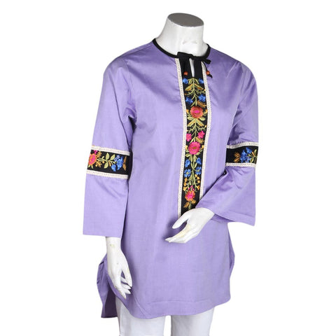 Women's Embroidered Kurti - Purple - test-store-for-chase-value