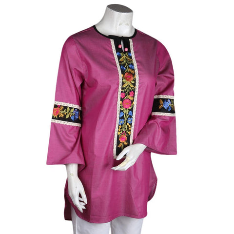 Women's Embroidered Kurti - Pink - test-store-for-chase-value
