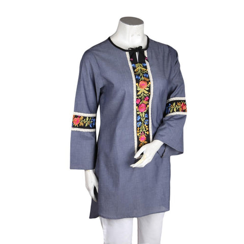 Women's Embroidered Kurti - Dark Grey - test-store-for-chase-value