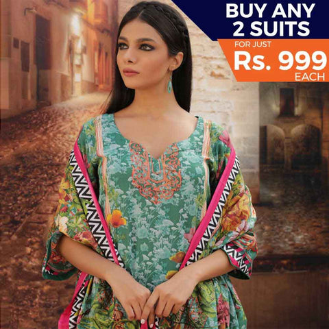 Rangreza Printed Cotton 3 Piece Un-Stitched Suit - 15