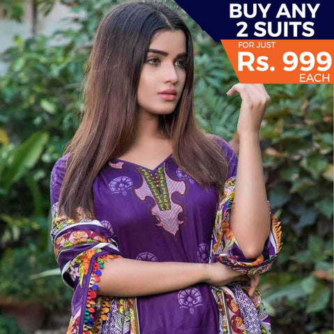 Rangreza Printed Lawn 3 Piece Un-Stitched Suit Vol 8 - 01