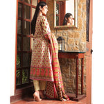 Cotrina Printed Cotton 3 Piece Un-Stitched Suit - 16
