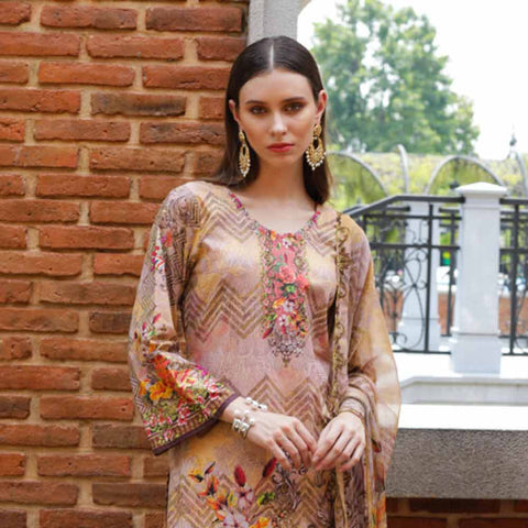 Salina Digital Printed Cotton Satin 3 Piece Un-Stitched Suit - 16