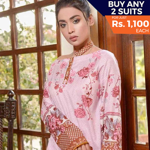 Libas Printed Lawn 3 Piece Un-Stitched Suit Vol 1 - 6 A