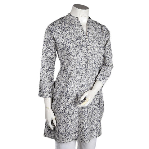 Women's Printed Cotton Kurti - Grey - test-store-for-chase-value
