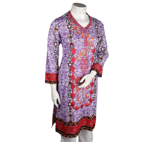 Women's Embroidered Lawn Kurti - Purple - test-store-for-chase-value