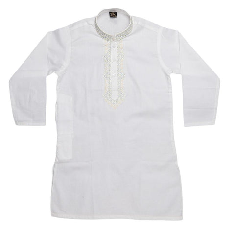 Boys Embroidered Kameez Shalwar - White - test-store-for-chase-value