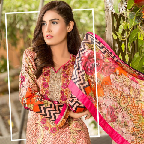 Iraar Floral Embroidered Cambric Suit - 3B - test-store-for-chase-value