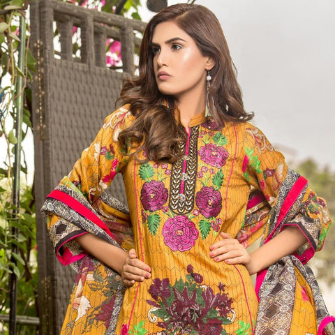 Iraar Floral Embroidered Cambric Suit - 6B - test-store-for-chase-value