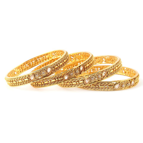 Women's Fancy Bangles 4 Pcs - Golden - test-store-for-chase-value