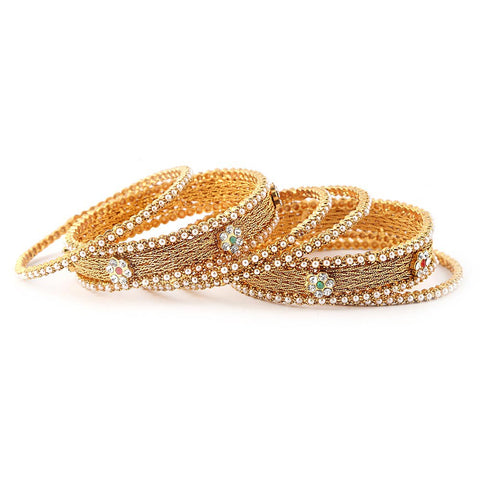 Women's Fancy Bangles 6 Pcs - Golden - test-store-for-chase-value