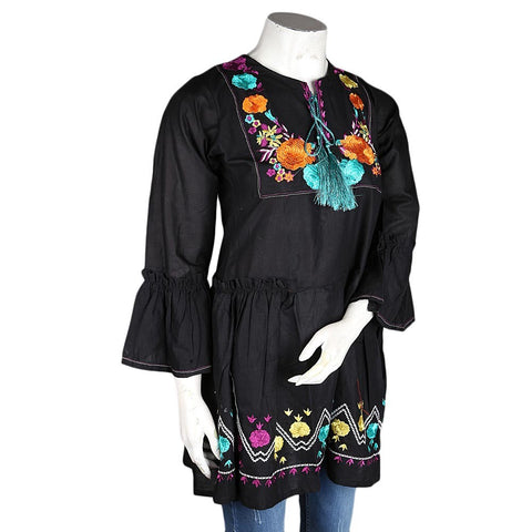 Women's Embroidered Jhabla - Black - test-store-for-chase-value
