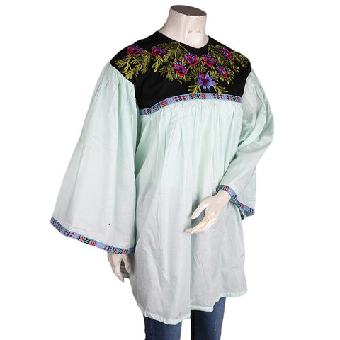 Women's Embroidered Jhabla - Sea Green - test-store-for-chase-value