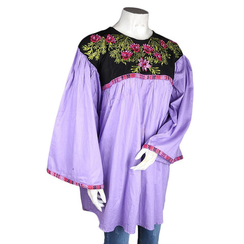 Women's Embroidered Jhabla - Purple - test-store-for-chase-value