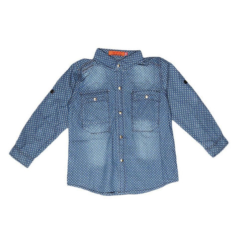 Boys Full Sleeves Denim Shirt - Blue - test-store-for-chase-value