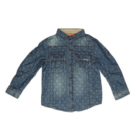 Boys Full Sleeves Denim Shirt - Dark Blue - test-store-for-chase-value