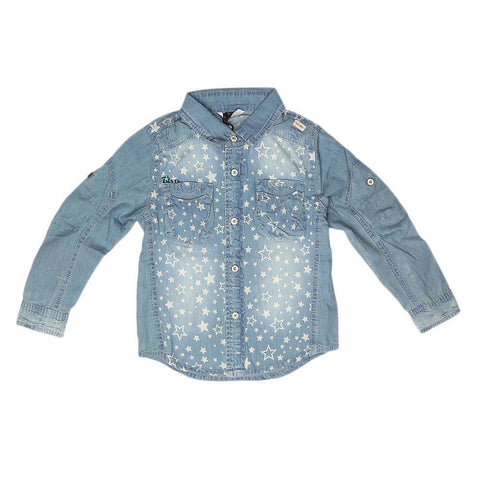 Boys Full Sleeves Denim Shirt - Light Blue - test-store-for-chase-value