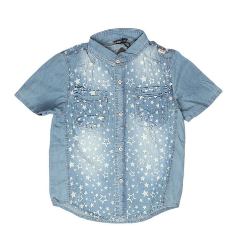 Boys Half Sleeves Denim Shirt - Light Blue - test-store-for-chase-value
