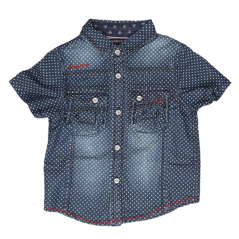 Boys Half Sleeves Denim Shirt - Blue - test-store-for-chase-value