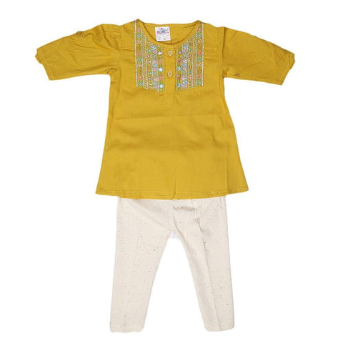 Newborn Girls Embroidered Frock Suit - Mustard - test-store-for-chase-value