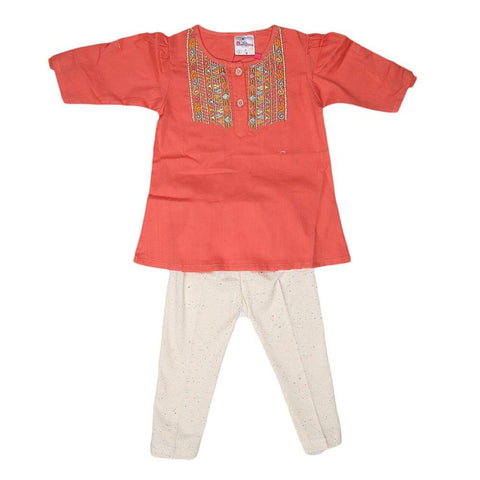 Newborn Girls Embroidered Frock Suit - Peach - test-store-for-chase-value