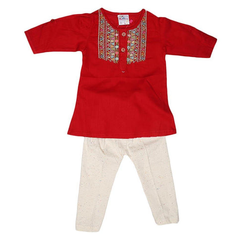 Newborn Girls Embroidered Frock Suit - Red - test-store-for-chase-value